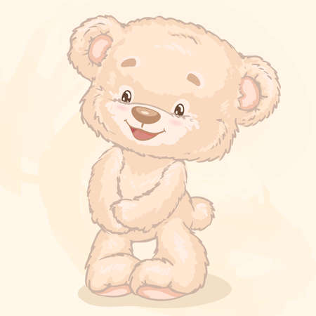 Plush toy bear. Cartoon characters Vector illustration.