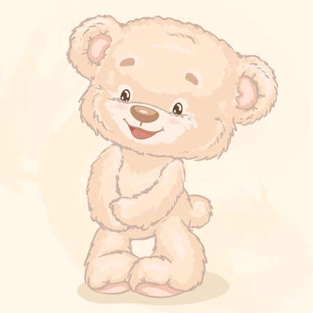 Plush toy bear. Cartoon characters Vector illustration.