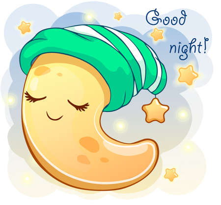 Cute cartoon crescent in the green cap sleeping. Vector illustration is suitable for greeting cards and prints on t-shirts. Illustration