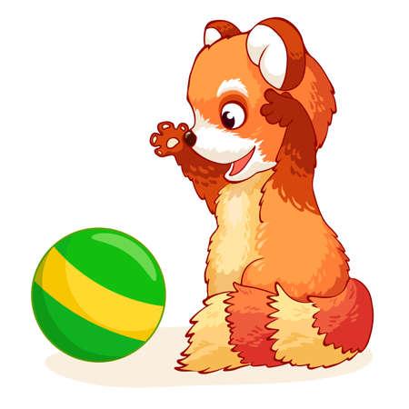 Panda rouge joyeux mignon joue avec une balle verte. Personnage de vecteur de dessin animé. Illustration vectorielle.