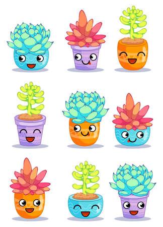 Negen verschillende vrolijke planten met grappige gezichten. Cartoon tekens instellen Vector illustratie is geschikt voor wenskaarten en prints op t-shirts. Stockfoto - 94189086
