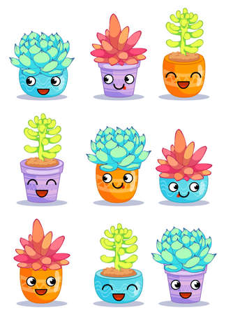 Nine different cheerful plants with funny faces. Cartoon characters set. Vector illustration is suitable for greeting cards and prints on t-shirts.