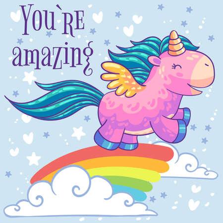 Pequeño unicornio rosa pony con alas que se ejecutan en un arco iris en las nubes.