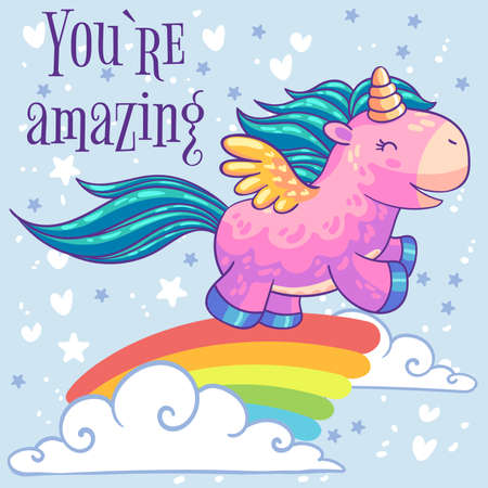 Little pink pony unicorn with wings running on a rainbow in the clouds. Vectores