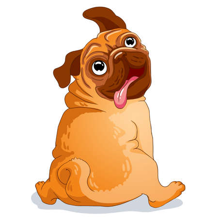 Cute little pug. Cartoon character. Vector illustration.