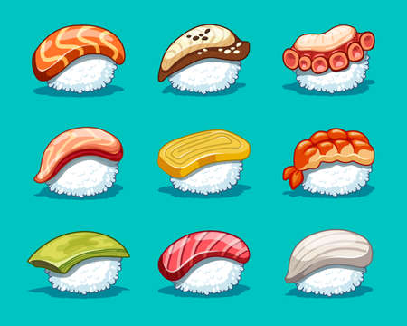 Vector kawaii set japanese food illustration for shop design.Sushi icons with tuna, salmon, eel, avocado, omelette, octopus, shrimp.