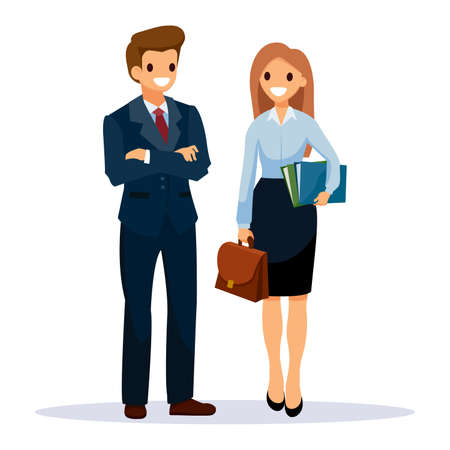 Man in black suit and woman hold folders with documents and work bag in her hands. Business People teamwork, Vector illustration cartoon character.