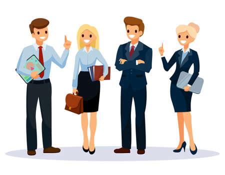 Grupo de trabajadores de oficina. Trabajo en equipo de personas de negocios. Personaje de dibujos animados de ilustración vectorial.