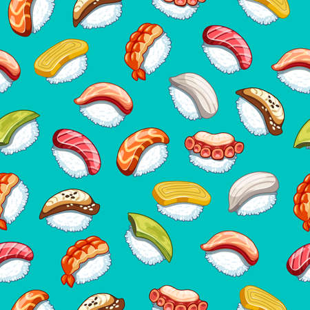 Vector kawaii seamless pattern japanese food illustration for shop design on blue background .Sushi icons with tuna, salmon, eel, avocado, omelette, octopus, shrimp. Banque d'images - 122386944