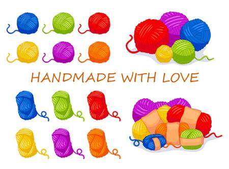 Raccolta di oggetti per cucire dei cartoni animati vettoriali. Gomitoli di lana multicolori. Per negozio fatto a mano e altri progetti di design a maglia. Raccolta di vettore carino.