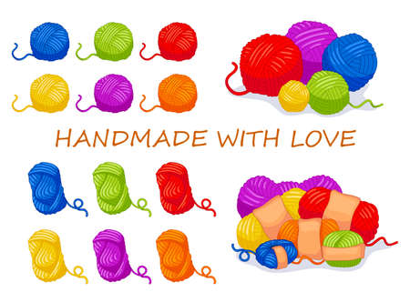 Collection of vector cartoon sewing items. Multi-colored wool balls. For handmade shop and other knit design project. Cute Vector Collection.