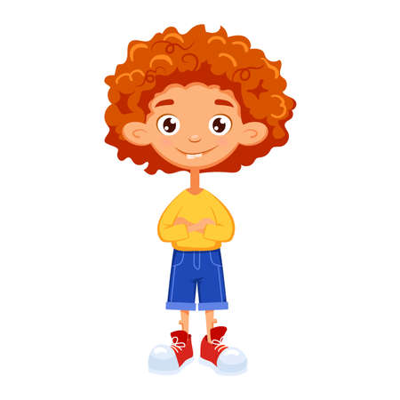 red-hair boy in red sneakers stands with his arms crossed. Cartoon characters. Vector illustration. Can be used for fashion print design, kids wear, celebration greeting and invitation card, postcard. Ilustracja