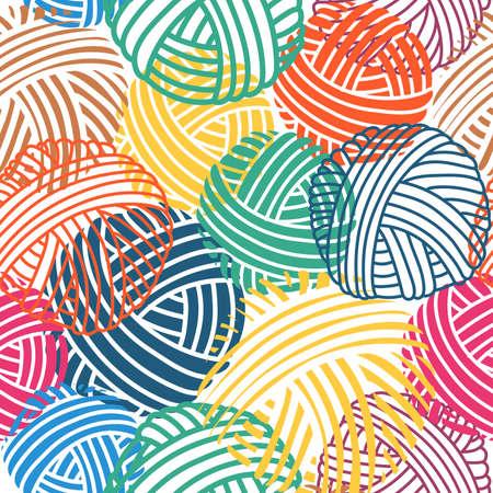 Nahtloses Vektormuster. Handgemachte Vektorsammlung. Symbole für Näherei und andere Projekte. Buntes mehrfarbiges Garn zum Stricken.