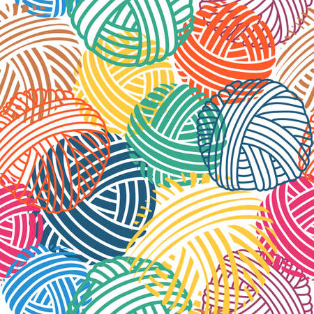 Seamless vector pattern. Handmade vector collection. Icons for sewing shop and other project. Colorful multi-colored yarn for knitting.