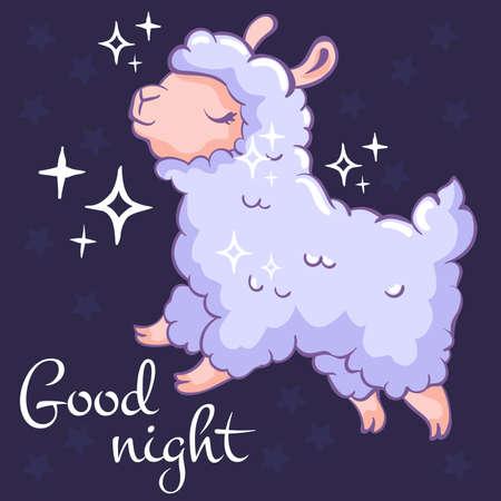 Jolie carte avec un mouton volant sur fond sombre. Bonne nuit. Peut être utilisé pour la conception d'impression, le papier cadeau, les vêtements pour enfants, le site Web, les voeux de célébration, la carte postale, l'autocollant, le t-shirt, la tasse et tout autre design.