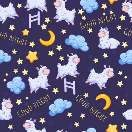 vector seamless pattern with sheeps on dark background. Good night. Can be used for print design, gift paper, kids wear, website, celebration greeting, postcard, sticker, t-shirt, mug and other design Stok Fotoğraf - 115404696