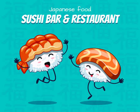 Sushi are friends forever. Vector illustration. japanese food poster design. Can use for cards, fridge magnets, stickers, posters, menu for bar and restaurant. Icons with salmon and shrimp.