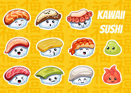 Hand drawn cartoon sushi stickers with cute emotions on yellow background. Tasty japanese food. In kawaii style. Can use for cards, fridge magnets, stickers, posters, menu for bar and restaurant