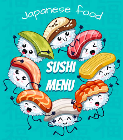 Japanese food poster design with vector sushi friends characters. Can be use sushi menu. Icons with tuna, salmon, eel, avocado, omelette, octopus, shrimp. Banque d'images - 124717718