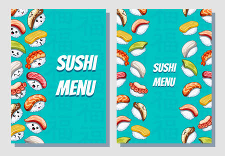 Business card. Japanese food poster design. Can be use sushi menu for bar and restaurant. Icons with tuna, salmon, eel, avocado, omelette, octopus, shrimp. Illustration