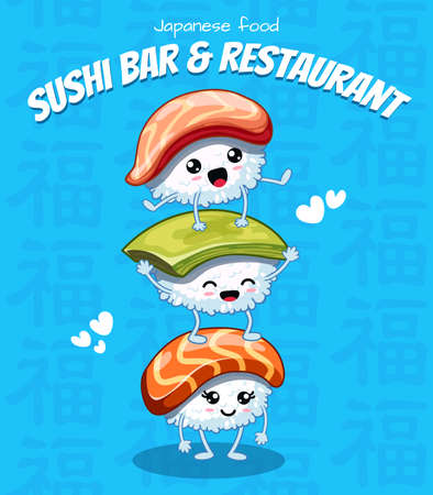 Cute happy sushi are friends forever. Vector illustration. japanese food poster design. Can use for cards, fridge magnets, stickers, posters, menu for bar and restaurant. Icons with salmon and shrimp.