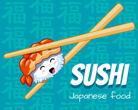 Cute happy sushi in Chinese sticks. Vector illustration. Japanese food poster design. Can use for cards, fridge magnets, stickers, posters, menu for bar and restaurant.