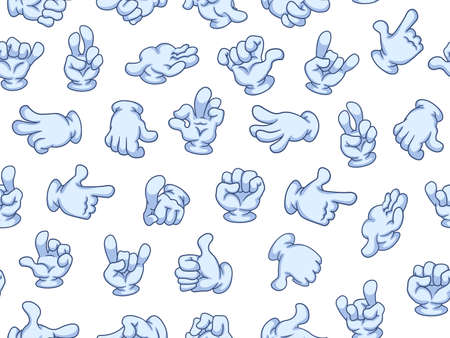 Seamless pattern cartoon hands with gloves. Vector illustration. Different gestures: pointing, attention, fist, thumbs up, like, dislike, ok. Illustration