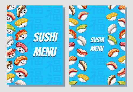 Business card. Poster design on blue background. Can use sushi menu for bar and restaurant. Icons with tuna, salmon, eel, avocado, omelette, octopus, shrimp.