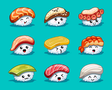 Hand drawn various cartoon sushi with cute emotions on blue background. In kawaii style. Tasty japanese food. Icons with tuna, salmon, eel, avocado, omelette, octopus, shrimp Vettoriali