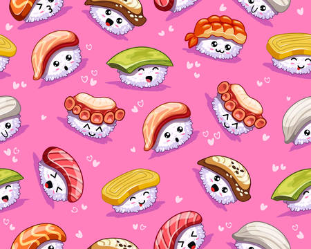 Vector kawaii seamless pattern. Cartoon sushi with cute emotions and hearts on pink background. In kawaii style. Tasty japanese food. Icons with tuna, salmon, eel, avocado, omelette, octopus, shrimp