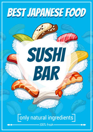 Poster for sushi bar or restaurant. Vector seafood with rice in raw condition, salmon and tuna, perch and cucumber, eel and avocado and tofu cheese. Japanese food