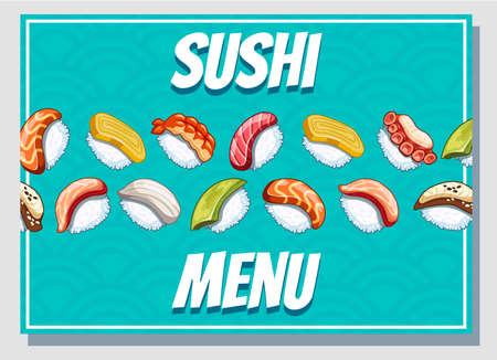 Horizontal cartoon business card. Japanese food poster design for sushi bar or restaurant.