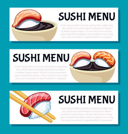 Lunch banners collection. Japanese food poster design for sushi bar or restaurant. Ilustrace