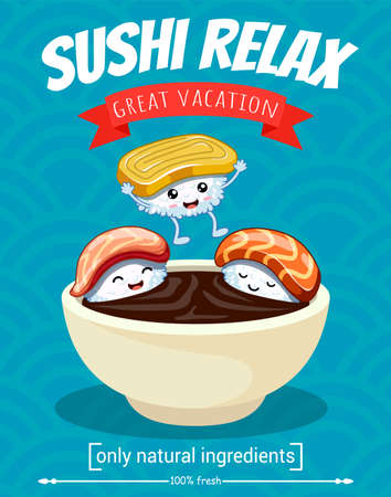 Three cartoon sushi characters bathe in soy sauce.Vector illustration. japanese food poster design. Can be use for cards, fridge magnets, stickers, posters, brochures, menu for bar and restaurant. Banque d'images - 122386992