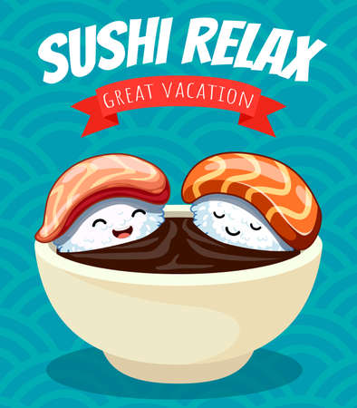 Two cartoon sushi characters bathe in soy sauce.Vector illustration. japanese food poster design. Can use for cards, fridge magnets, stickers, posters, brochures, menu for bar and restaurant. Banque d'images - 124128685