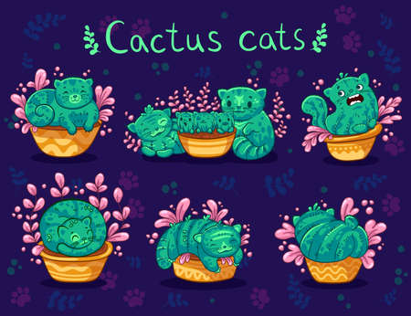 Cute hand drawn cats cactus in a flowerpot with flower in cartoon style on dark background. Vector illustration. It can be used for sticker, patch, phone case, poster, t-shirt, mug and other design