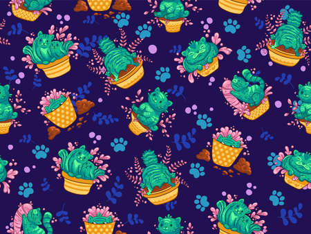 Seamless pattern with cats cactus in a flowerpot with flower in cartoon style on dark background. Vector illustration. It can be used for sticker, patch, phone case, poster, mug and other design Ilustrace