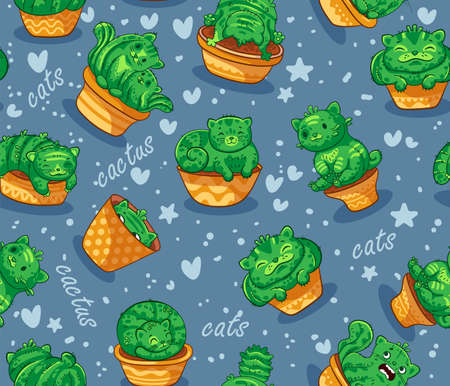 Seamless pattern with succulents and cactus plant in forms of cats. It can be used for sticker, patch, phone case, poster, t-shirt, mug and other design.