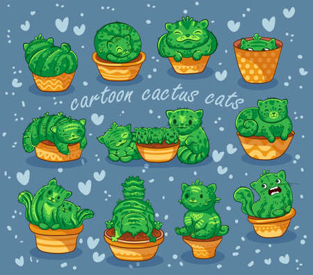 Vector illustration of hand drawn cute cats cactus in a flowerpot  in cartoon style on grey background.  It can be used for sticker, patch, phone case, poster, t-shirt, mug and other design