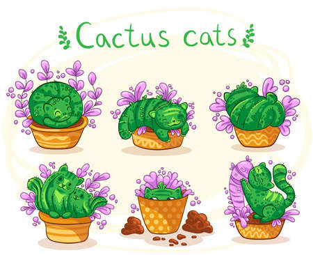 Vector illustration of hand drawn cute cats cactus in a flowerpot with pink flowers in cartoon style. It can be used for sticker, patch, phone case, poster, t-shirt, mug and other design