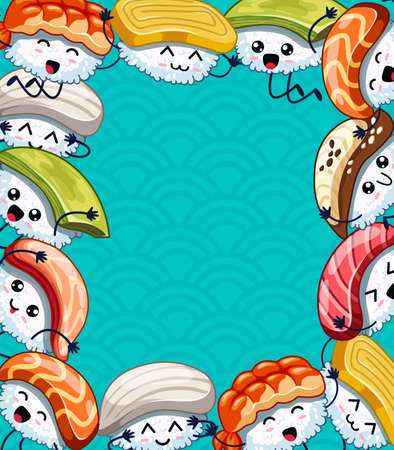 Cartoon frame with funny sushi. Template for advertising brochure. Ready for your message. Funny cartoon character. Vector illustration