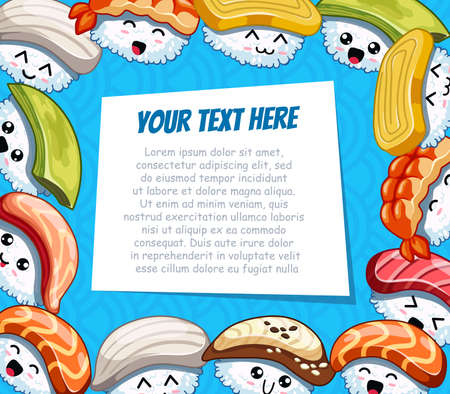 Horizontal cartoon frame with funny sushi on blue background. Template for advertising brochure with your text. Ready for your message. Funny cartoon character. Vector illustration Illustration