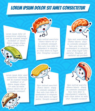 Six cartoon frame with funny sushi on blue background. Template for advertising brochure with your text. Ready for your message. Funny cartoon character. Vector illustration