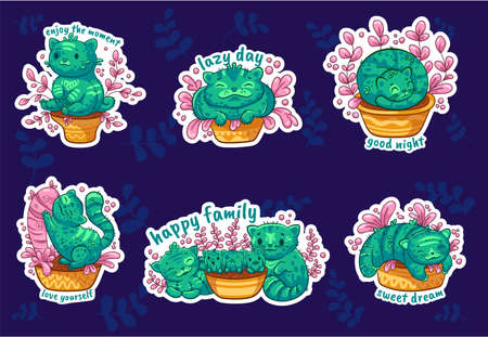 Stickers with cute phrases. Set of cactus cats in cartoon style. It can be used for sticker, patch, phone case, poster, t-shirt, mug and other design