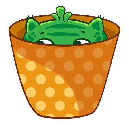 Cat cactus hiding in a flower pot. Vector cartoon illustration. It can be used for sticker, patch, phone case, poster, mug and other design