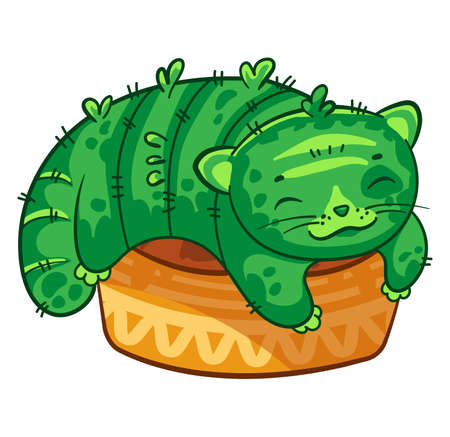 Cat cactus lies in a flower pot. Vector cartoon illustration. It can be used for sticker, patch, phone case, poster, mug and other design Ilustrace