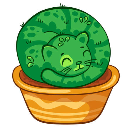 Cat cactus lying in a pot curled up in a ball. Vector cartoon illustration. It can be used for sticker, patch, phone case, poster, mug and other design Ilustrace