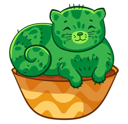 Happy fat cat cactus lies in a flower pot. Vector cartoon illustration. It can be used for sticker, patch, phone case, poster, mug and other design