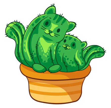 Two cactus cats hugging. Vector cartoon illustration. It can be used for sticker, patch, phone case, poster, mug and other design