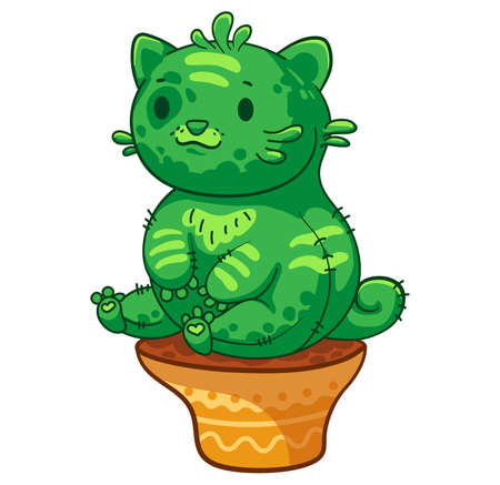 Very fat cat cactus sitting in a flower pot. Vector cartoon illustration. It can be used for sticker, patch, phone case, poster, mug and other design Ilustrace